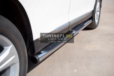 Toyota Highlander 2010 пороги труба d 76 с накладками (вариант 2) THT-0007362